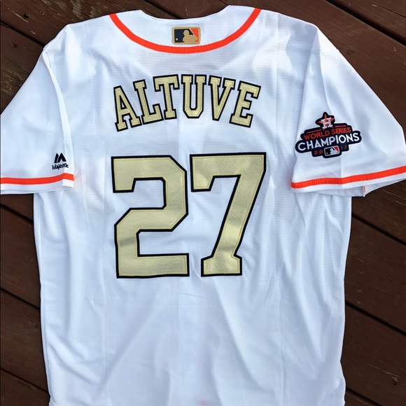 new style 6283f 5959b Jose Altuve Houston Astros Gold Majestic Jersey XL NWT